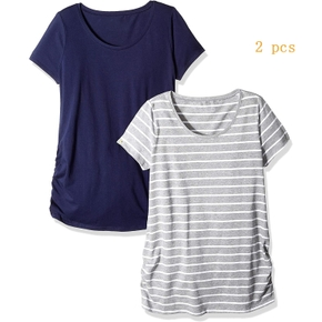 Maternity casual Print Round collar Short Sleeve T-shirt 2 pieces