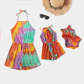 Tie-dye Series  Halter Neck Shorts Rompers for Mommy and Me