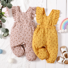 100% Cotton Floral Print Sleeveless Baby Jumpsuit