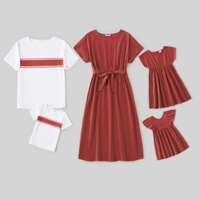 100% Cotton Solid Red and  White Series Family Matching Short Sleeve Sets