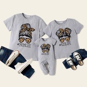 Letter Print Grey Short Sleeve Cotton T-shirts for Mommy and Me
