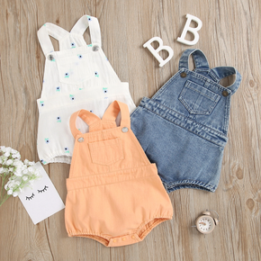 100% Cotton Denim Solid or Floral Print Sleeveless Baby Romper
