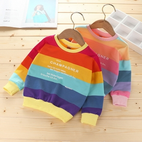 Multi Color Rainbow Letter Print Long-sleeve Athleisure Pullover Top for Toddlers/Kids