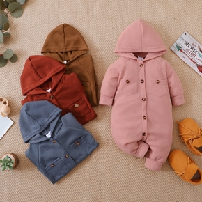Solid Waffle Long-sleeve Baby Jumpsuit