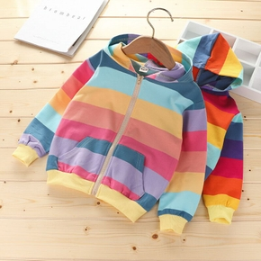 Multi Color Rainbow Print Hooded Long-sleeve Athleisure Coat Top for Toddlers/Kids