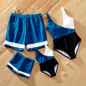 Color Block Print Family Matching Swimsuits(One-piece Tank Swimsuits for Mom and Girl ; Swim Trunks for Dad and Boy)
