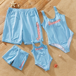 Summer Blue Series Family Matching Swimsuits(One-piece Tank Swimsuits for Mom and Girl ; Swim Trunks for Dad and Boy)