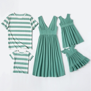 100% Polyester Family Matching Green Sets
