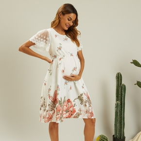 Maternity casual Floral Print Round collar Short-sleeve Dress