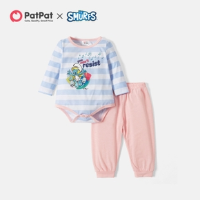 Smurfs 2-piece Baby Girl Stripe Romper and Solid Pants Set