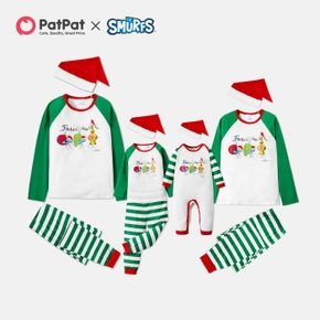 Smurfs Color Block Top and Stripe Pants with Hat Matching Christmas Pajamas Sets(Flame Resistant)