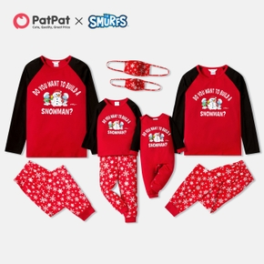 Smurfs Family Matching Snowman Christmas Pajamas Sets and Face Mask(Flame Resistant)