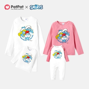 Smurfs One For All Letter Print Family Matching Tops and Romper