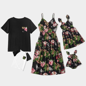 Floral Print Family Matching Sets(Front Buttons Sling Dresses with Pockets for Mom and Girl ; Short Sleeve T-shirts for Dad and Boy)