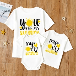 """""""YOU ARE MY SUNSHINE"""" Letter Print White Short Sleeve T-shirts  for Mom and Me"""