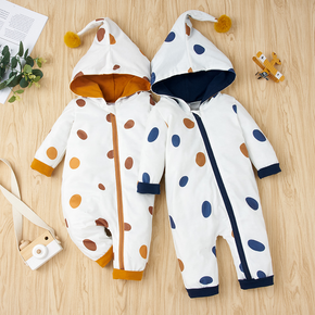 Dots Print Hooded Long-sleeve Baby Jumpsuit