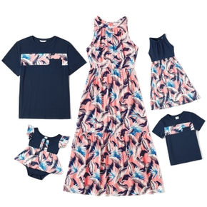 Mosaic Feather Print Family Matching Pink and Navy Sets