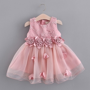 Toddler Girl Floral Embroidery Flower Bowknot Decor Zipper Sleeveless Mesh Costume Party Dress