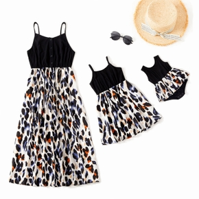 Leopard Print Splice Black Sling Dresses for Mommy and Me