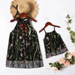 Floral Embroidered Print Black Sleeveless Tops for Mom and Me