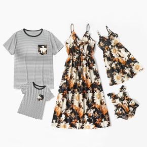 Floral Print Family Matching Sets(Sling V-neck Dresses for Mom and Girl ; Stripe Print Loose Short Sleeve T-shirts for Dad and Boy)