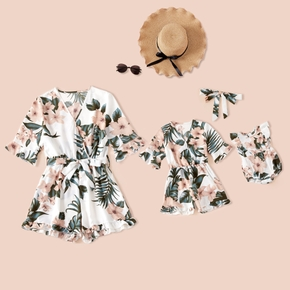 Floral Print 1/2 Sleeve Shorts Rompers for Mommy and Me