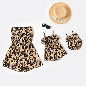 Twist Front Tie Back Leopard Series Tube Rompers for Mom ; Sling Rompers for Girl and Baby