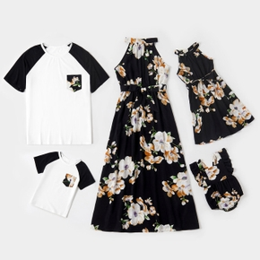 Floral Print Family Matching Sets( Halter Neck Design Dresses for Mom and Girl; Raglan Sleeve T-shirts for Dad and Boy)