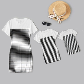 Black and White Stripe Print Tight Short Sleeve T-shirt Dresses for Mommy and Me