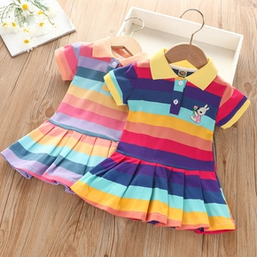 Toddler Girl Multi Color Rainbow Print Rabbit Embroidery Pleated Polo Shirt