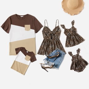 Leopard Series Family Matching Tops(Sleeveless Tops for Mom and Girl ; Color Block Splice Print T-shirts for Dad and Boy)