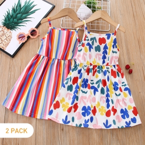 2-piece Toddler Girl Striped/Leaf Print Strap Pleated Dress