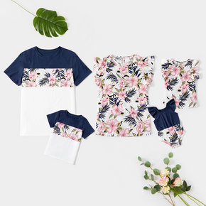 Floral Print Family Matching Tops(Ruffle Sleeve Tops for Mom and Girl)
