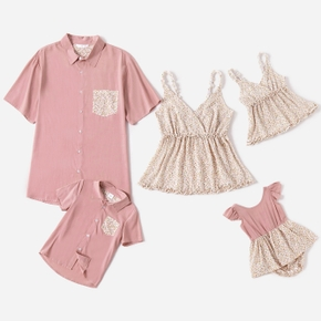 Floral Print Family Matching Short Sleeve Tops(Sling Tops for Mom and Girl ; Pink Short SLeeve Shirts for Dad and Boy)