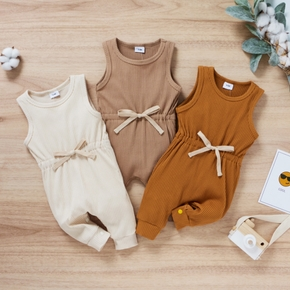 Solid Color Sleeveless Ribbed Baby Jumpsuit
