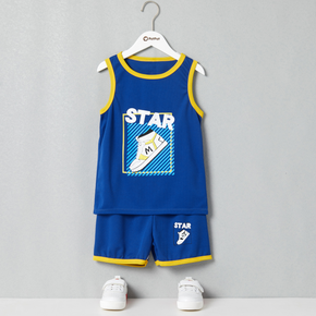 2-piece Kid Boy Letter Shoe Print Quick Dry Tank Top and Shorts Sporty Set