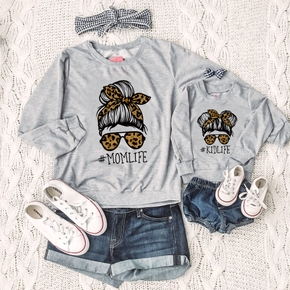 Letter Leopard Print Long Sleeve Sweatshirts for Mommy and Me