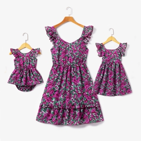Floral Print Ruffle Sleeveless Dresses for Mommy and Me