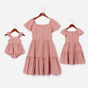 100% Cotton Solid Pink Front Buttons Midi Dresses for Mommy and Me