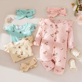 2pcs Floral Allover Waffle Long-sleeve Baby Set