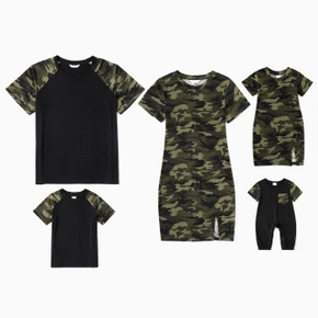 Camouflage Series Family Matching Sets(Tight slit Mini Dresses for Mom and Girl)