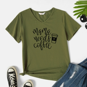 Graphic Army green Short-sleeve V Neck Tee for Women