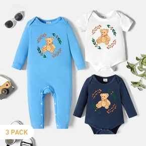 3-Pack Baby Graphic Romper and Jumpsuit Set