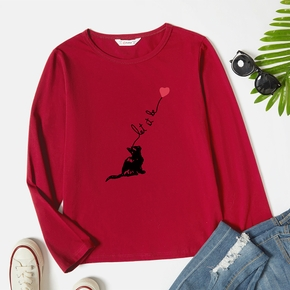 Graphic Long-sleeve Round-collar Tee for Women