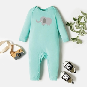 Baby Graphic Light green Long-sleeve Jumpsuit