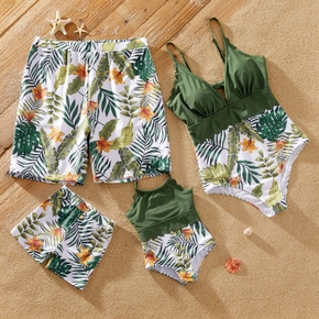 Floral Leaf Print Family Matching Swimsuits(One-piece Sling Swimsuits for Mom and Girl ; Swim Trunks for Dad and Boy)
