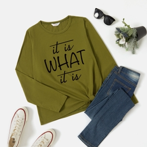 Graphic Round Neck  Letter Long-sleeve Tee For women