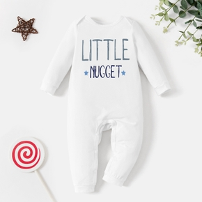 Baby Graphic White Long-sleeve Jumpsuit