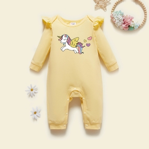 Baby Graphic Unicorn Flutter-sleeve Long-sleeve Jumpsuit