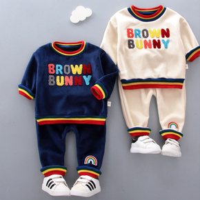 2-piece Toddler Girl/Boy Letter Embroidery Rainbow Striped Pullover and Pants Set